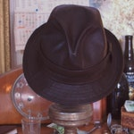 Leather Fedora hat / Mickey O'Neil hat replica / Snatch / sweatband / handmade / custom size / cosplay / unisex / cap / goatskin