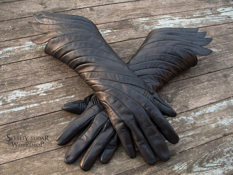 Designer Leather Gloves Dark Phoenix / Fantasy Gloves / Dark image 0
