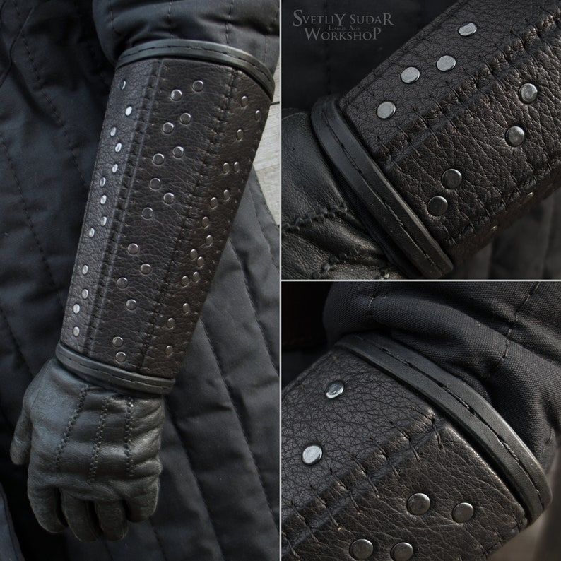 Witcher leather bracers pair with rivets replica / Leather image 0