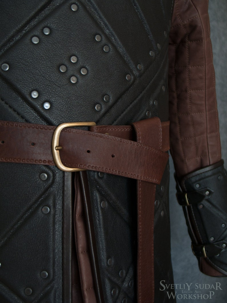 Medieval leather belt / Jon Snow leather belt / embossed belt image 0