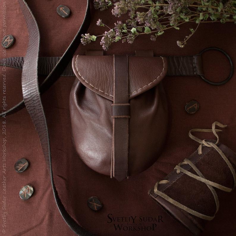 Medieval Leather Bag / Belt Bag / Fantasy style / handmade  image 0