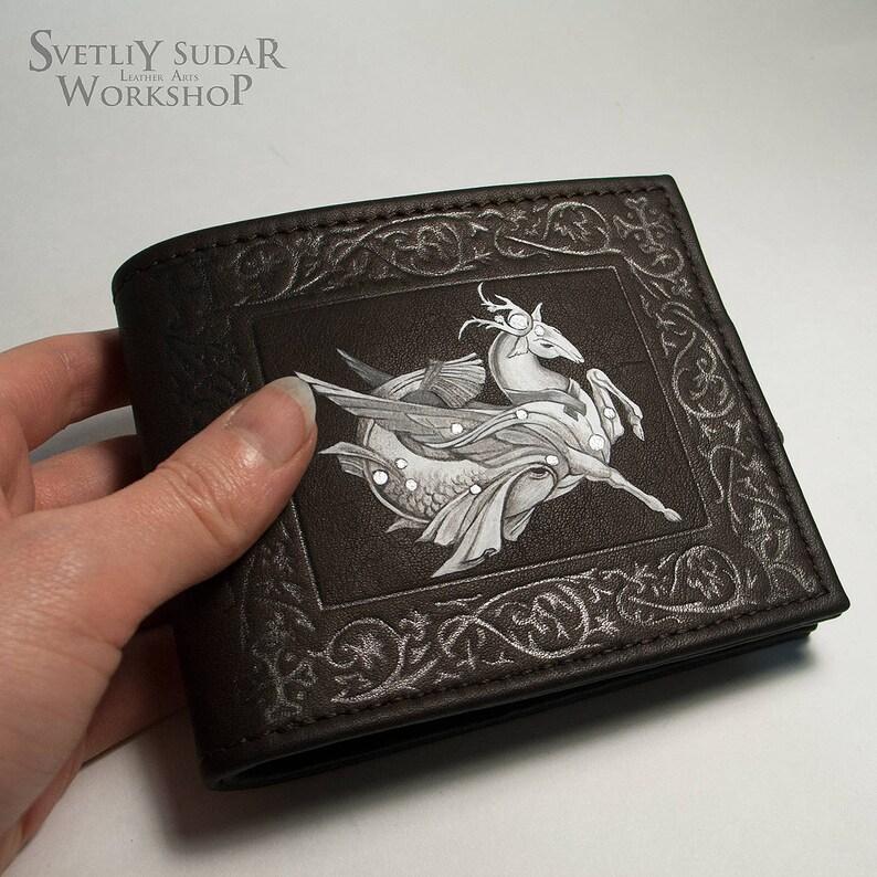 Zodiac Leather wallet Capricorn / bifold / custom / horoscope image 0