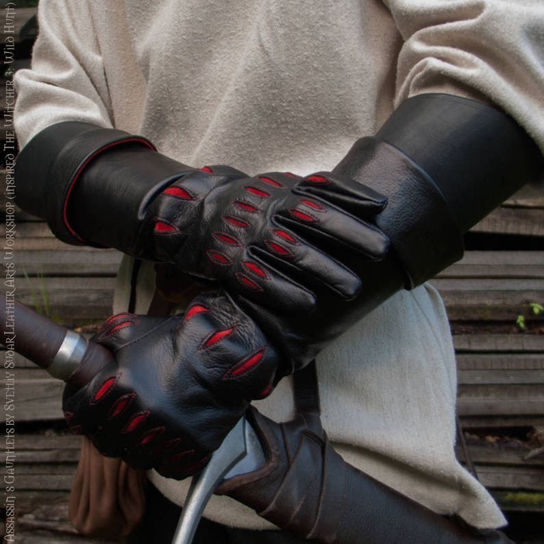 Leather gloves with bracers/ Assassin's Gauntlets inspired image 0