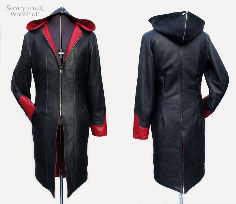 Custom black-red leather coat / Cosplay / Anime / / LARP image 0