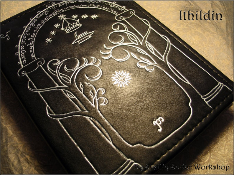 Handmade Leather Journal Ithildin inspired Moria LOTR  6 x image 0