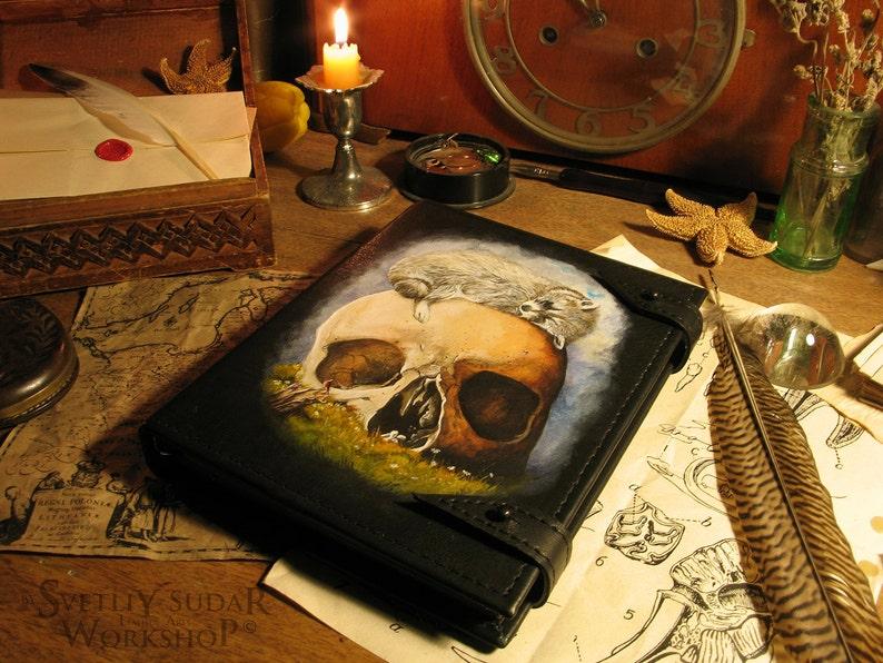 Handmade Leather Journal Vanitas / 6 x 8 inches / hand image 0