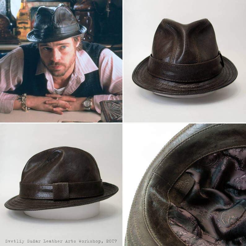 Leather Fedora hat   Mickey ONeil hat replica   Snatch  4865bd55a36