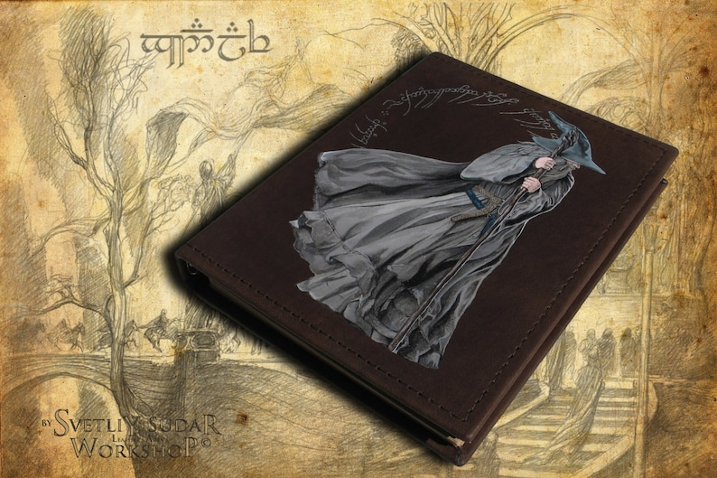Handmade Leather Journal Olorin inspired Gandalf the Grey image 0
