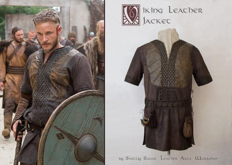 Inspired Ragnar Lothbrok Leather Jacket / custom size / viking image 0