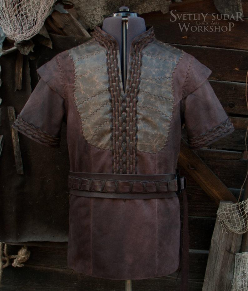 Viking Leather Jacket inspired Ragnar Lothbrok / custom size image 0