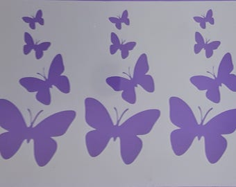 """Butterfly strip Mylar stencil sheets for cake decoration / wall border 4"""" x 10.5"""" butterflies"""