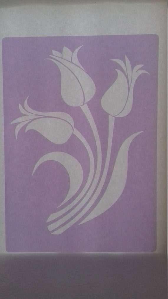 2 x Tulip flower stencil for wall decoration / greeting card making bedroom  living room kitchen 5 5