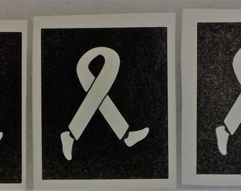 30 x Cancer ribbon with running feet stencils for glitter tattoos / airbrush / other uses Relay for life run  fundraising  charity Research