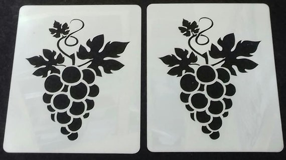 Grape stencils for etching on glass  craft hobby present  grapes wine etch