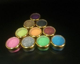 10 x Body art glitter pots 5 gram different colors Children's parties, glitter tattoos