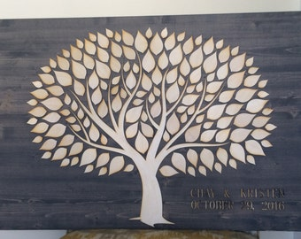 Wedding Guest Book Alternative 3D Unique Wedding Guestbooks Wooden Tree Guest Book Classic Gray Stain