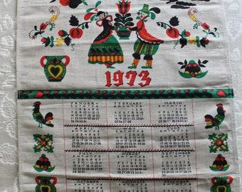 1973 Pure Flax Folk Art Linen Tea Towel Calendar Polish with Wooden Dowling