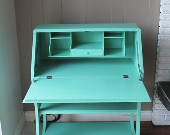 1900s Aqua Drop Leaf Desk 10s to 20s sweet little desk with charm solid wood desk NO Delivery Pick Up Only Item