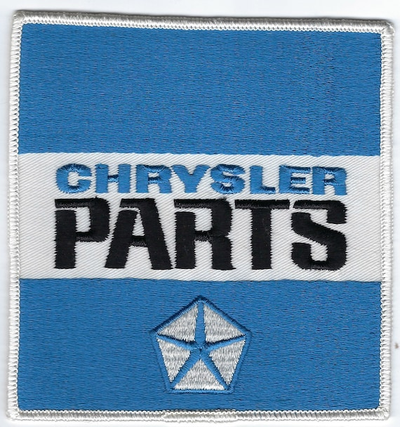 PLYMOUTH CHRYSLER DODGE BLUE AND WHITE SQUARE CLOTHING PATCH