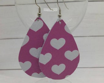 leather teardrop earrings, pink leather teardrops, hearts, valentines day, pink leather