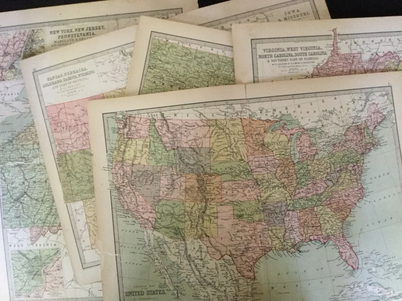 Early 20th Century Maps By Jg Bartholomew Group Of Ten Etsy - Early-us-maps