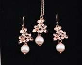 Rose Gold earrings Necklace Sakura beaded Beaded Earrings Wedding Jewelry