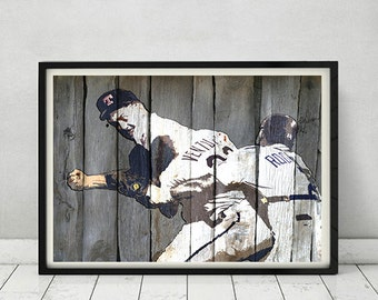 Nolan Ryan Robin Ventura Baseball Fight Punch Comic Style Artwork Print Gift for Man Cave