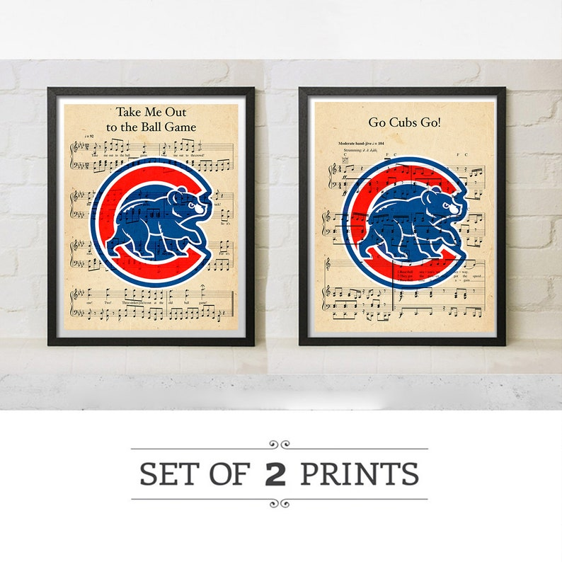 finest selection c25f2 246d4 Chicago Cubs Alternate Jersey Take Me Out to the Ball Game or Go Cubs Go  Sheet Music Custom Art Logo Print Gift Decor Wrigley