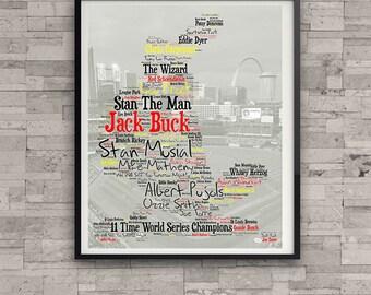 St. Louis Cardinals Hall of Fame World Series Championship Typography Logo Art Vintage Baseball Busch Stadium Gift