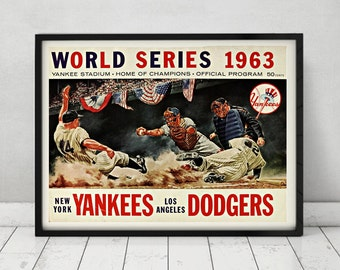 1963 World Series Los Angeles Dodgers vs New York Yankees Vintage World Series Poster Print Program Sandy Koufax Drysdale LA