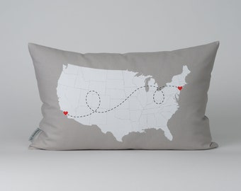 Personalized State to State USA Map Cotton Linen Pillow - USA Map Pillow - Long Distance Relationship Gift - Mother's Day - Father's Day