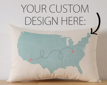Personalized State to State USA Map Cotton Canvas Pillow - USA Map Pillow - Going Away Gift - Long Distance Relationship - Housewarming Gift
