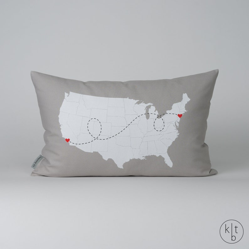 Personalized State to State USA Map Cotton Linen Pillow  USA image 0