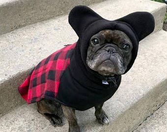 2b6787aeb65 BatHat Popover Coat - pops on fast - fully adjustable - bat ear hood -  Perfect for Frenchies