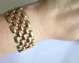 Retro machine age Tank Track bracelet 18K RGP vintage modernist geometric brick link bracelet Art Deco style Yellow Rolled Gold Plate