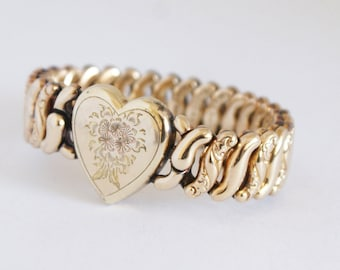 Vintage 1940s 10k Gold Fill Etched Flower Bouquet Expansion Bracelet ESTATE Jewellery Jewelry