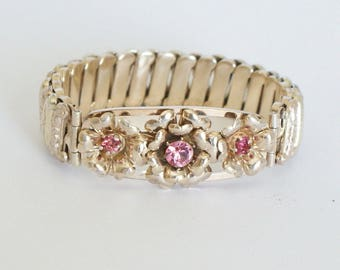 Vintage c1940s Rose & Yellow 12k Gold Fill gf Sweetheart Expansion Bracelet Pink Stone Estate find Vintage Jewelry Statement Jewellery