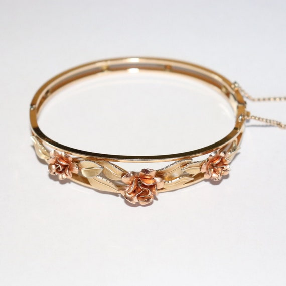Vintage 14k Gold Filled Rose and Yellow Gold GF 3D Rose Hinged Bracelet Bangle Mid Century