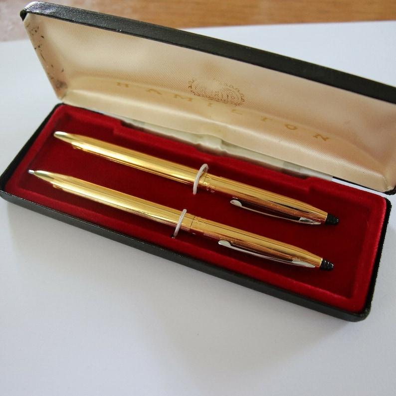 Vintage 14k Gold Filled Hamilton Pen /& Pencil Set Hallmarked Signed Designer