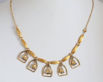 Vintage c1930s 12k Gold Fill Beaded Wedding Bell Necklace ESTATE Jewellery Jewelry