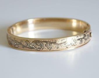 c1930s Vintage 12k Gold Filled Fill GF Hinged Bangle Bracelet Etched Roses Signed Hallmarks
