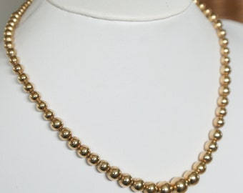 Vintage 12k Gold Filled Graduating  Ball Bead Necklace Statement Jewelry Jewellery Gifts For Her Van Dell Ladies Gifts