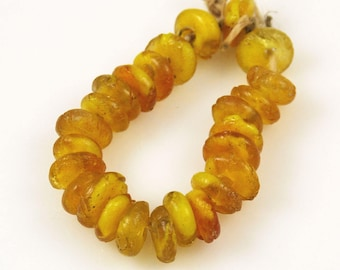 Antique Honey Amber Rondelle Beads 14mm (12)