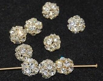 d2b4ef2f2 Silver Rhinestone Crystal AB Balls 8mm - 6 beads