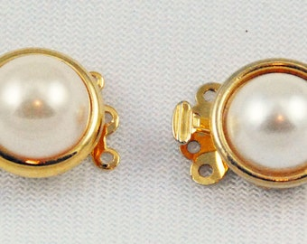 Round Gold Plated Pearl Clasps - Triple strands multistrand 2 Clasps