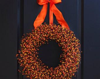 Orange and Yellow Berry Wreath - Fall Wreath - Fall Berry Wreath - Autumn Wreath - Thanksgiving Wreath - Halloween Wreath - Fall Door Decor