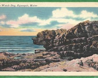 Vintage Linen Postcard - The Watch Dog Rock Formation in Ogunquit, Maine  (3192)
