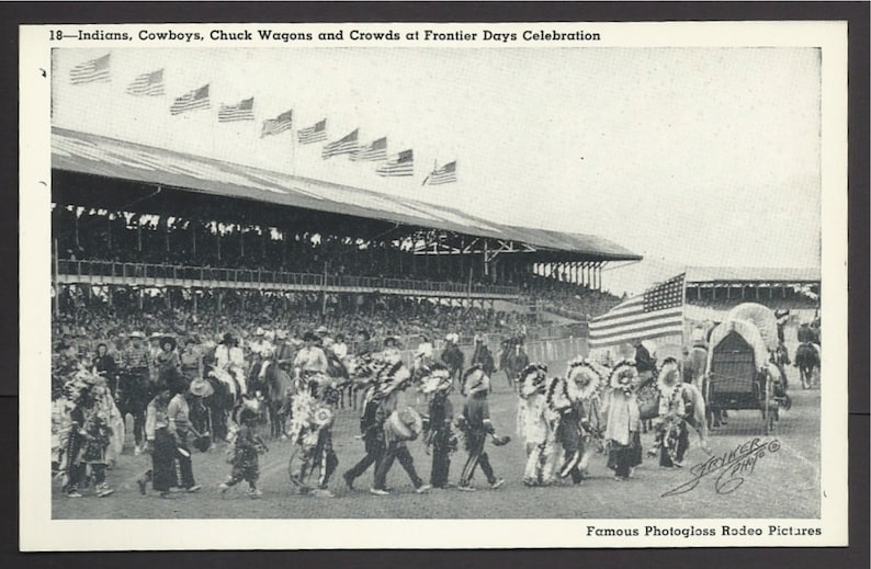 Native Americans Chuck Wagons and Crowds at Frontier Days Celebration Vintage Postcard 725a a Cowboys