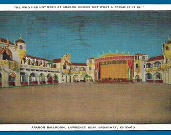 Linen Postcard   Aragon Ballroom , Lawrence Near Broadway in Chicago, Illinois  (1822)