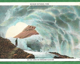 Vintage Postcard - Person inside Inside an Ice Cave in Paradise Glacier, Mount Rainier National Park, Washington  (3164)